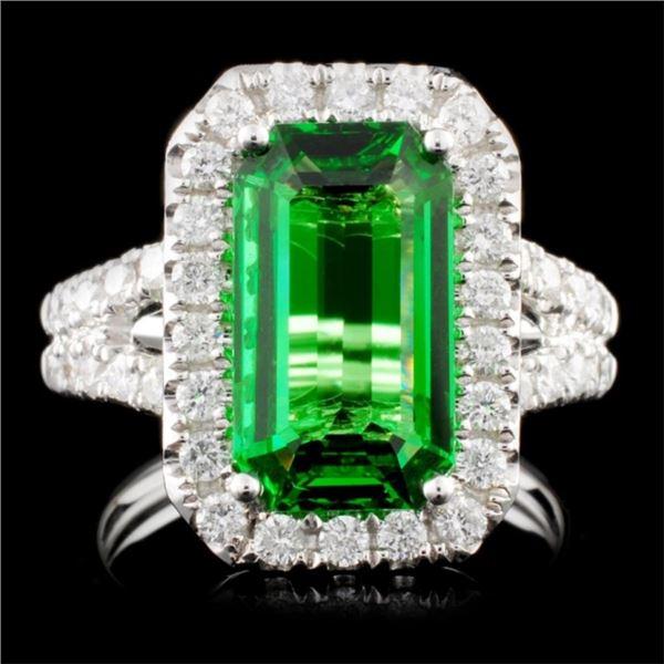 18K Gold 4.09ct Tsavorite & 1.11ctw Diamond Ring