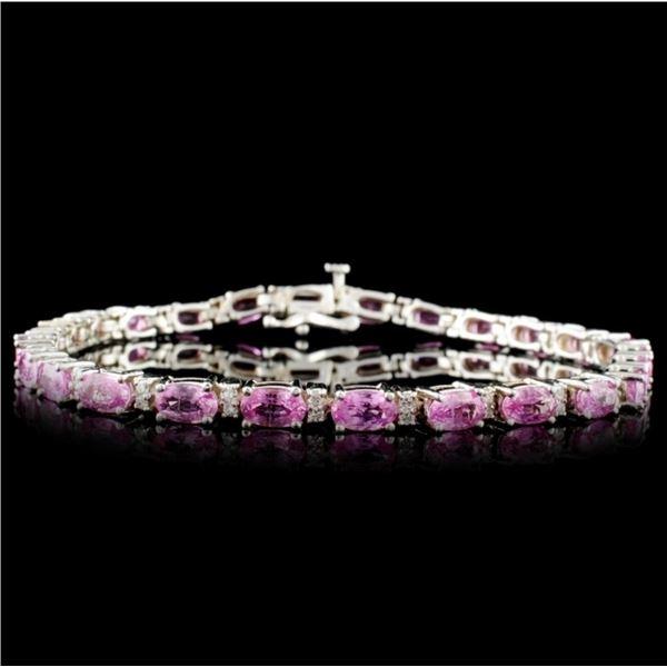 14K White Gold 11.40ct Sapphire & 0.92ct Diamond B