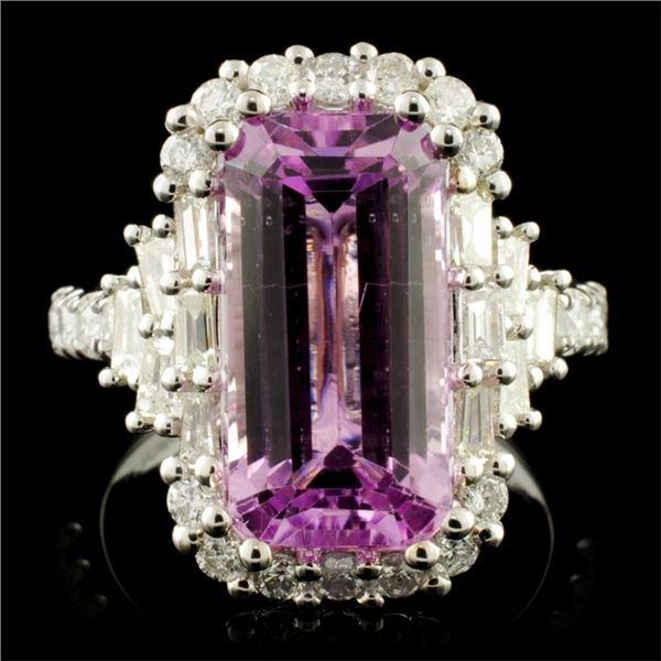 18K Gold 7.08ct Kunzite & 1.29ctw Diamond Ring