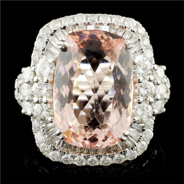 18K Gold 7.02ct Morganite & 1.96ctw Diamond Ring