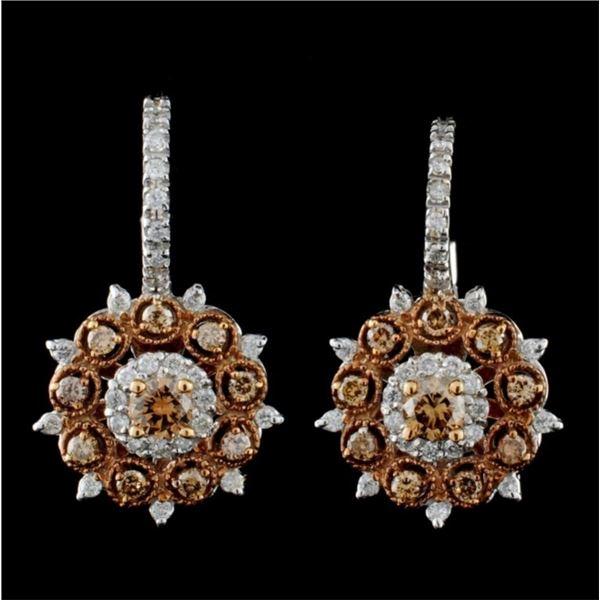 14K White Gold 1.10ctw Fancy Color Diamond Earring