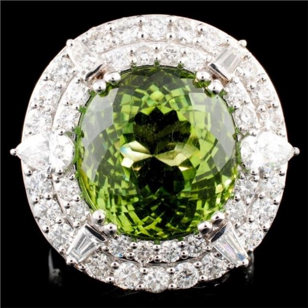 18K Gold 15.99 Tourmaline & 3.18ctw Diamond Ring
