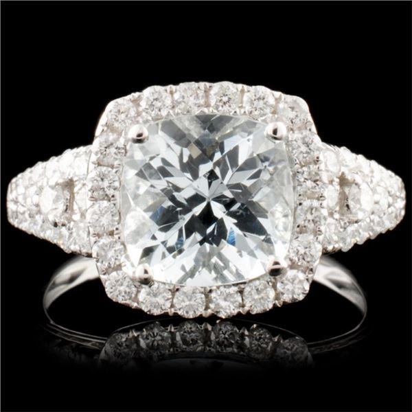 14K Gold 2.05ct Aquamarine & 0.75ctw Diamond Ring
