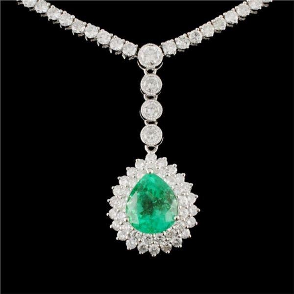 18K Gold 3.56ct Emerald 10.52ctw Diamond Necklace