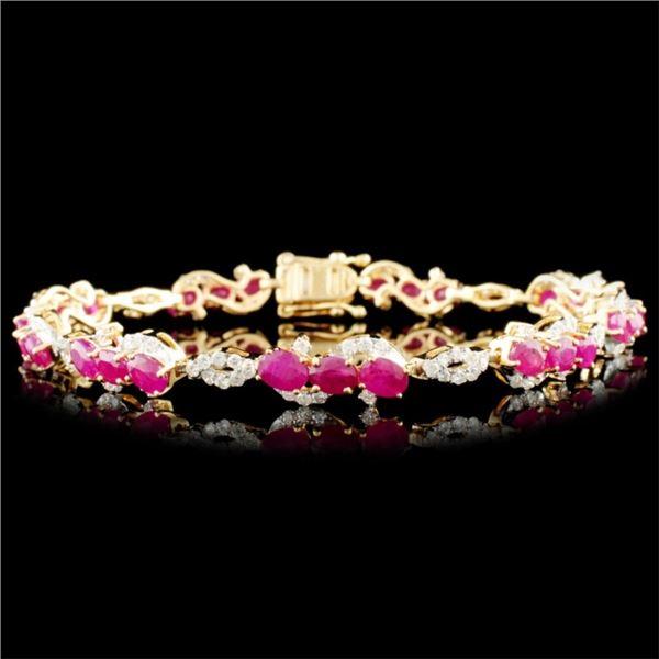 14K Gold 5.96ct Ruby & 1.20ctw Diamond Bracelet
