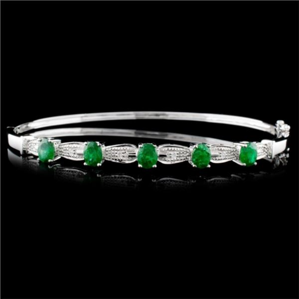 14K White Gold 1.74ct Emerald & 0.05ct Diamond Ban
