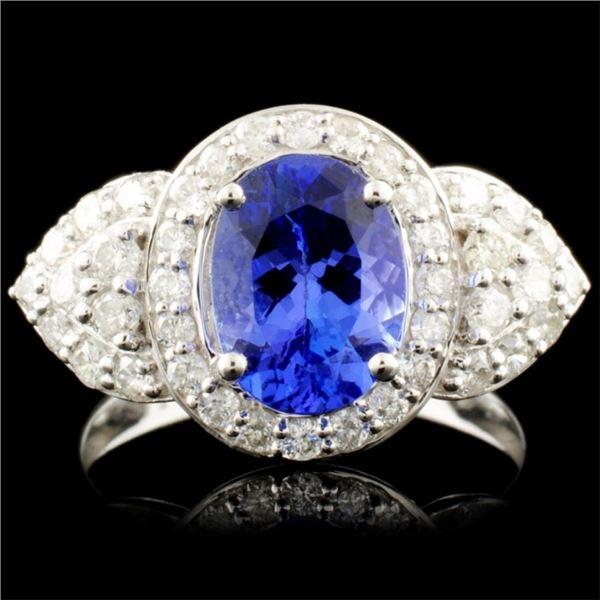 18K Gold 1.93ct Tanzanite & 0.90ctw Diamond Ring