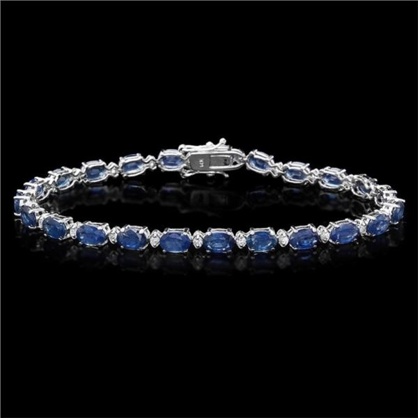 `14k Gold 12.00ct Sapphire & 0.50ct Diamond Bracel