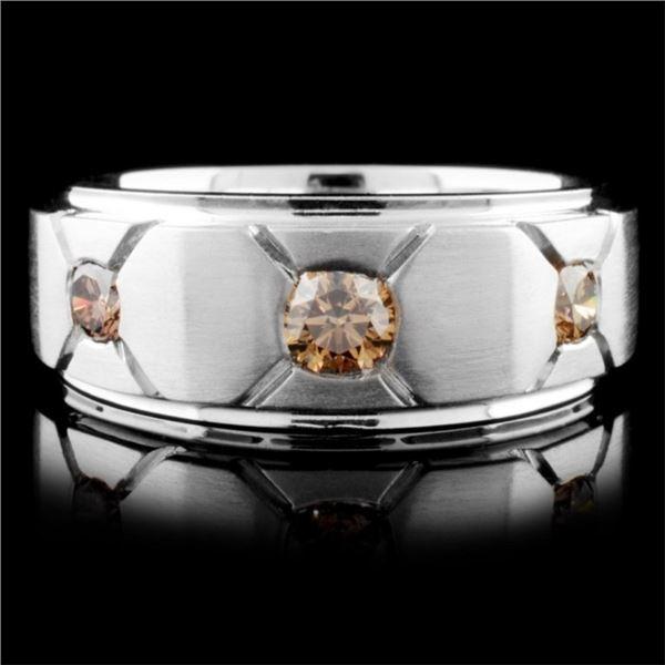 18K White Gold 0.59ctw Fancy Color Diamond Ring