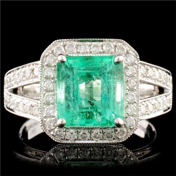 18K Gold 2.10ct Emerald & 0.50ctw Diamond Ring