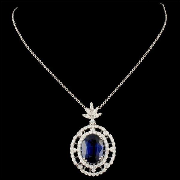 18K Gold 4.92ct Kyanite & 0.87ctw Diamond Pendant
