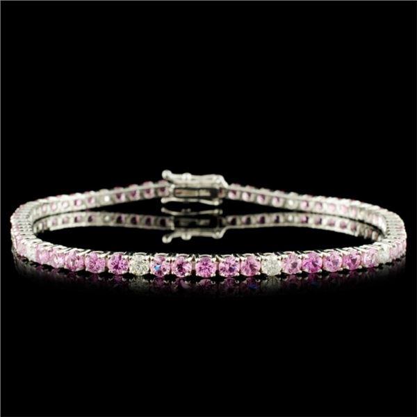 14K Gold 4.48ct Sapphire & 0.65ctw Diamond Bracele