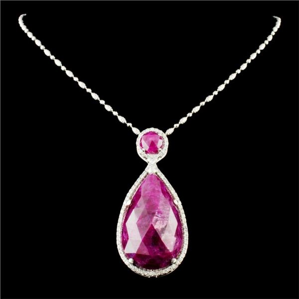 18K Gold 52.00ct Ruby & 1.34ctw Diamond Pendant