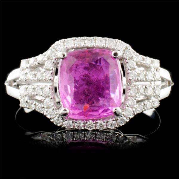 18K Gold 1.60ct Sapphire & 0.25ctw Diamond Ring