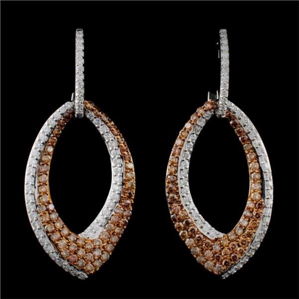 14K White Gold 1.74ctw Fancy Color Diamond Earring