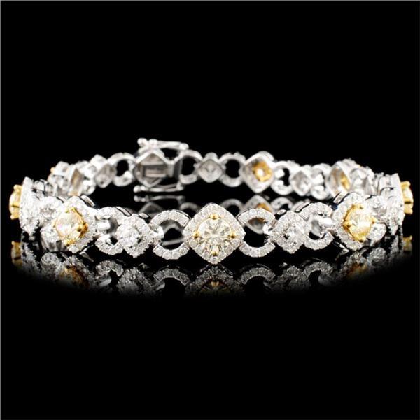 18K Gold 5.31ctw Fancy Diamond Bracelet
