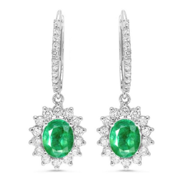 14K Gold 2.15ct Emerald & 1.00ct Diamond Earrings