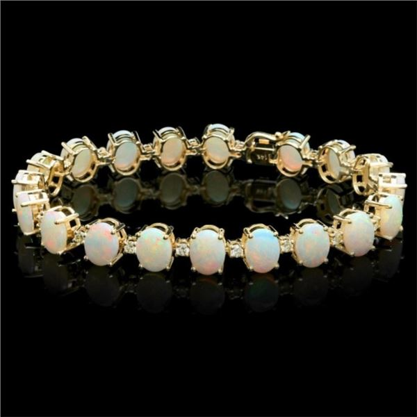 14k Gold 18.00ct Opal & 1.45ct Diamond Bracelet
