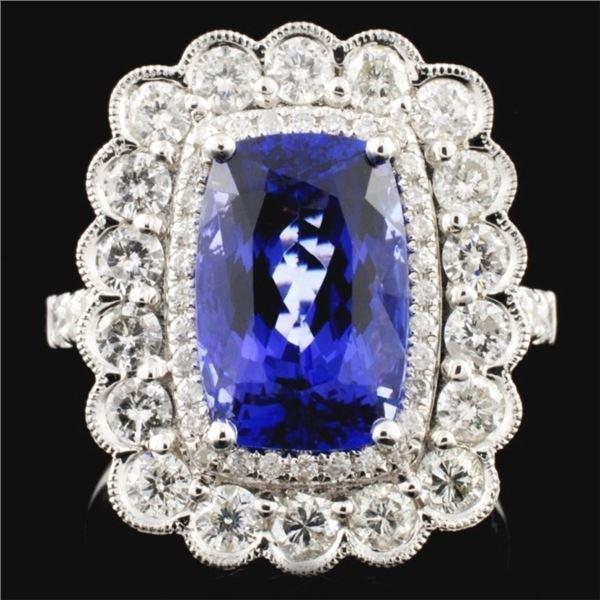 18K White Gold 4.28ct Tanzanite & 1.39ct Diamond R