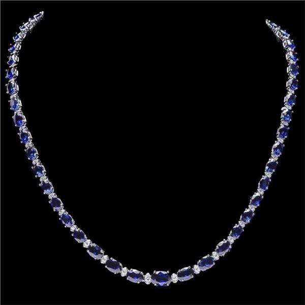 14k Gold 30.00ct Sapphire & 1.00ct Diamond Neckla