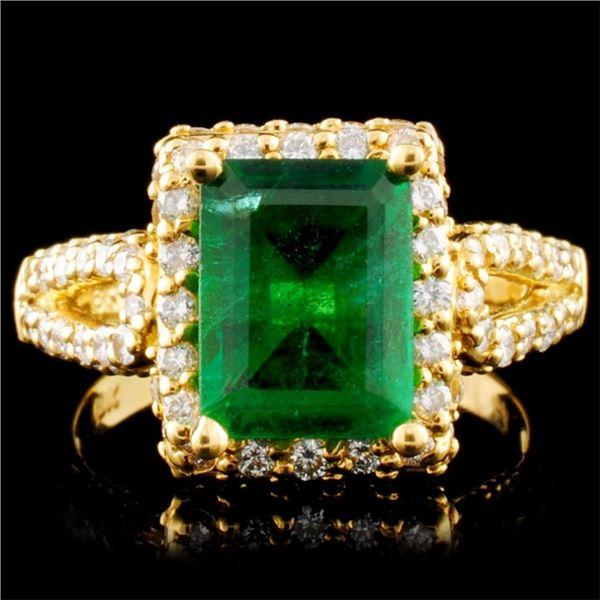 18K Gold 2.47ct Emerald & 1.20ctw Diamond Ring
