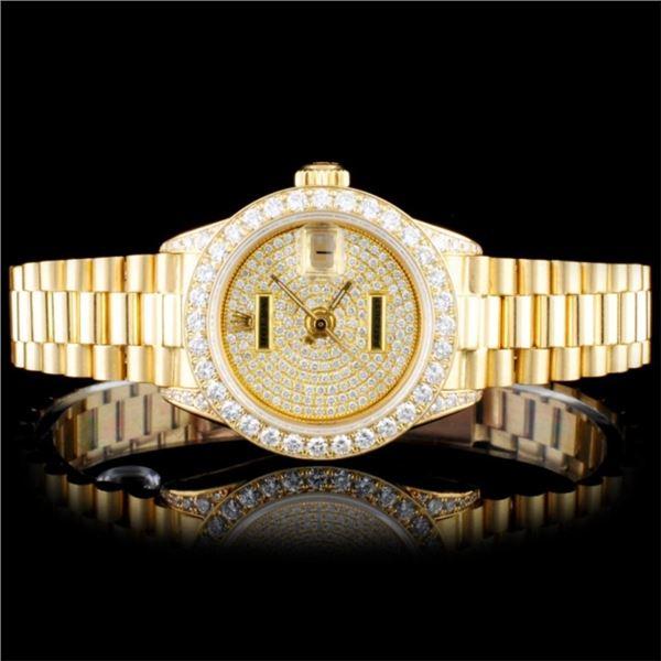 Rolex 18K Gold Presidential Ladies Diamond Watch