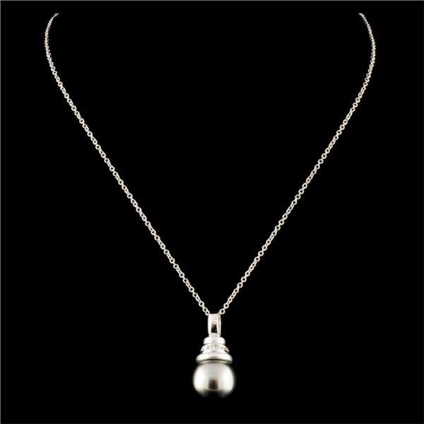 18K Gold 9.40MM Pearl & 0.03ctw Diamond Pendant