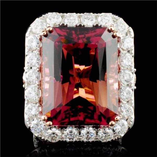 18K Gold 30.54ct Tourmaline & 3.73ctw Diamond Ring