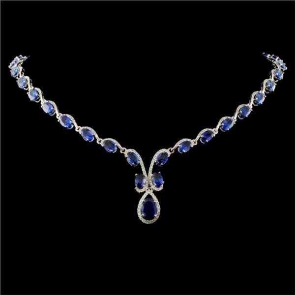 14K White Gold 25.15ct Sapphire & 2.07ct Diamond N