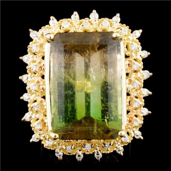14K Gold 23.74ct Tourmaline & 0.55ctw Diamond Ring