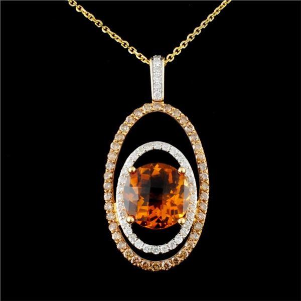 14K Gold 5.58ct Citrine & 1.39ctw Diamond Pendant