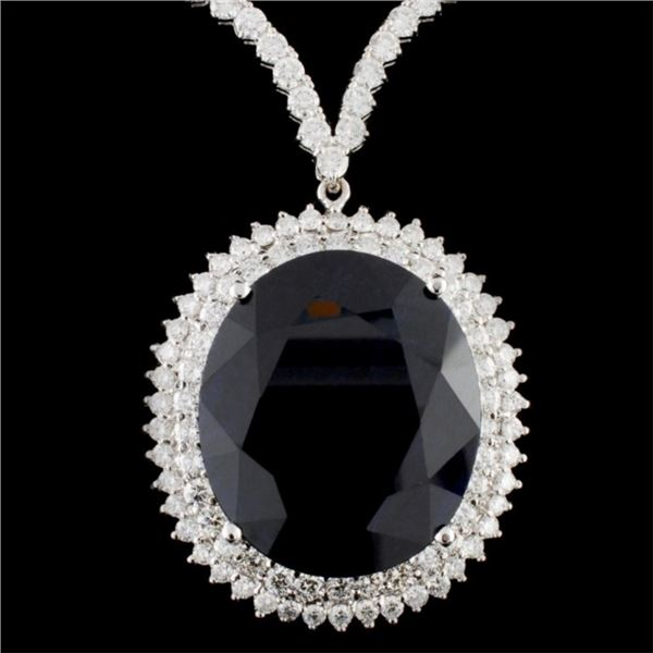 18K Gold 50.27ct Sapphire & 7.68ctw Diamond Neckla