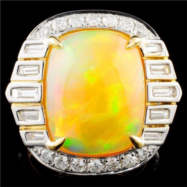 18K Gold 8.39ct Opal & 1.55ctw Diamond Ring
