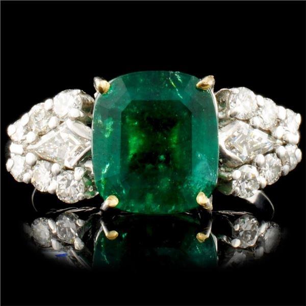 2.68ct Emerald & 1.00ctw Diamond Platinum Ring