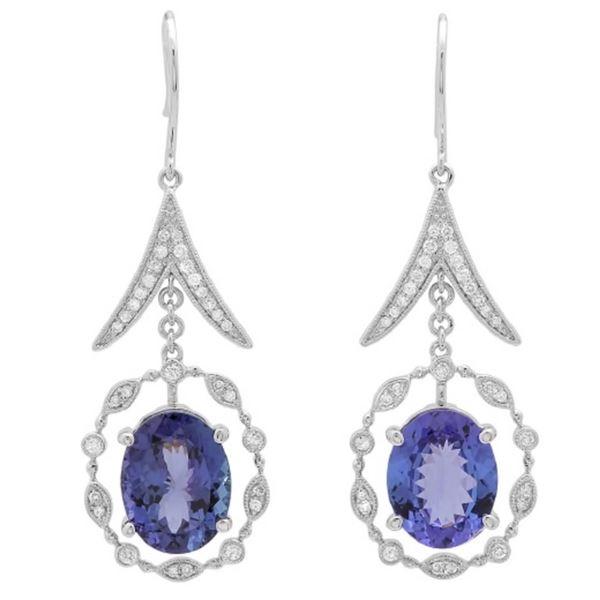14K Gold 9.00ct Tanzanite & .50ct Diamond Earrings