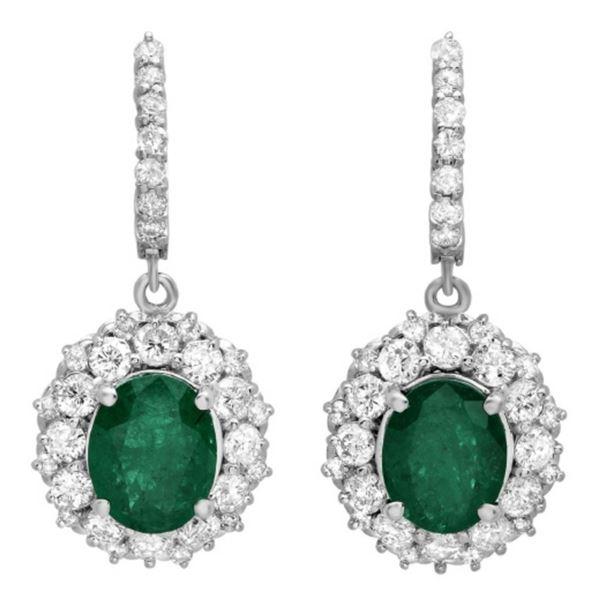 14K Gold 5.00ct Emerald & 3.25ct Diamond Earrings