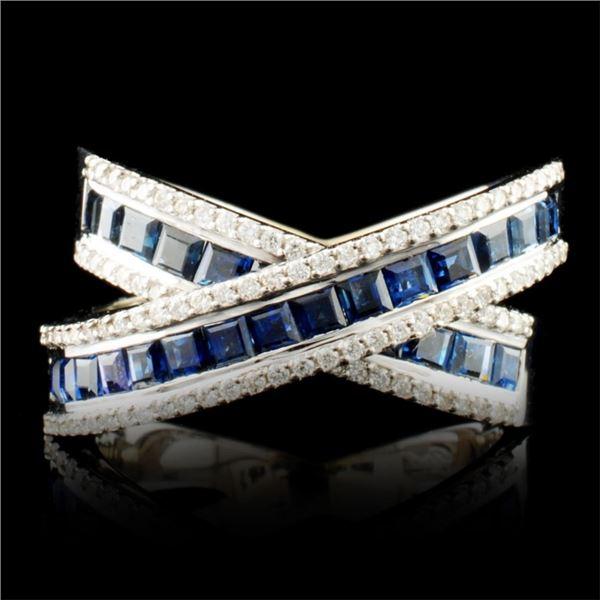 18K Gold 4.34ct Sapphire & 0.34ctw Diamond Ring
