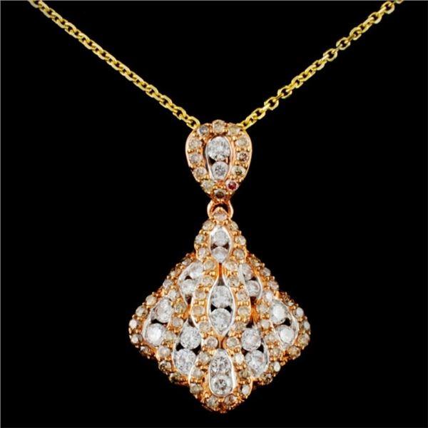 14K Gold 1.17ctw Fancy Diamond Pendant
