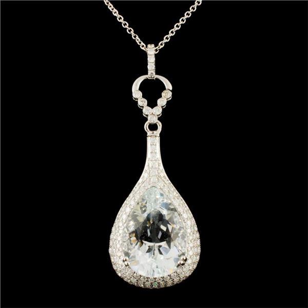14K Gold 6.99ct Aquamarine & 0.98ctw Diamond Penda