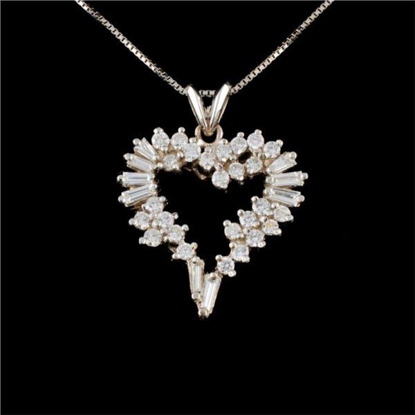 14K White Gold 1.85ctw Diamond Pendant