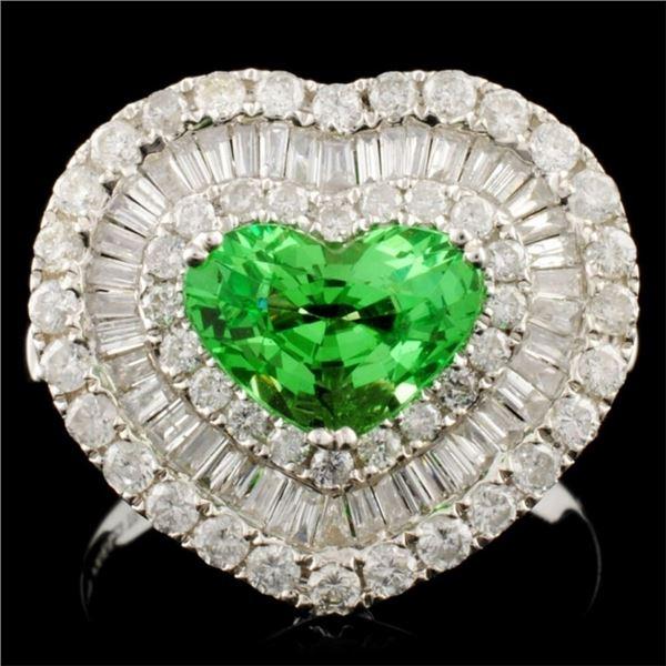 18K Gold 1.66ct Garnet & 1.64ctw Diamond Ring