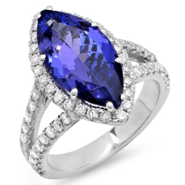 14K Gold 5.00ct Tanzanite & 0.85ct Diamond Ring