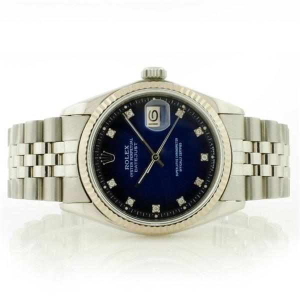 Rolex 36MM SS & 18K DateJust Blue Vignette Diamond