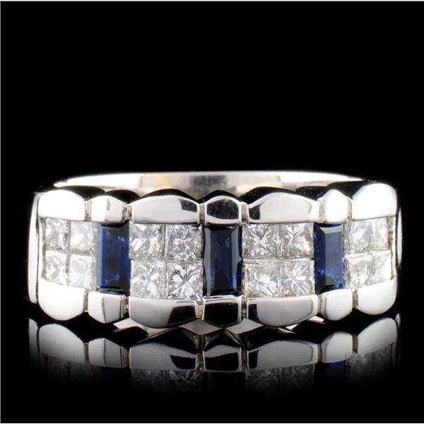 18K White Gold 0.62ct Sapphire & 0.71ct Diamond Ri