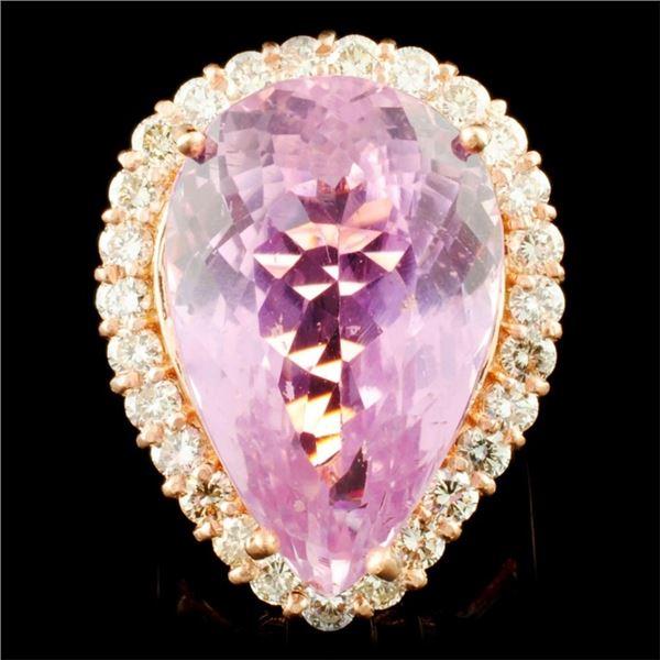 14K Gold 24.85ct Kunzite & 1.61ctw Diamond Ring