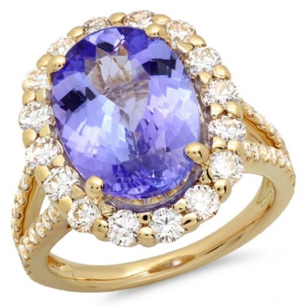 14K Gold 6.00ct Tanzanite & 1.50ct Diamond Ring