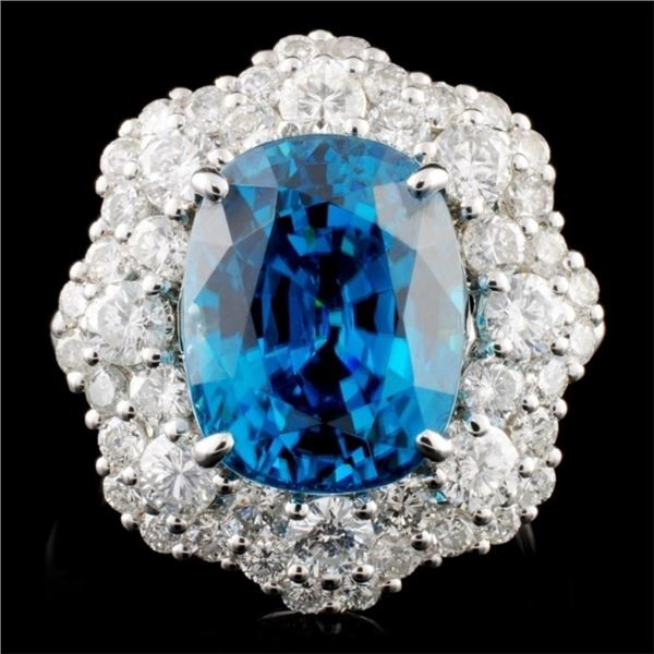 18K Gold 10.40ct Zircon & 2.05ctw Diamond Ring