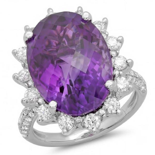 14K Gold 12.00ct Amethyst & 1.15ct Diamond Ring