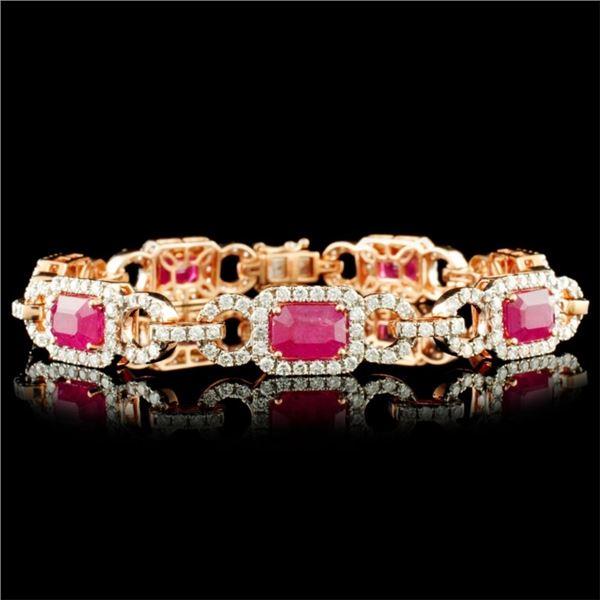 14K Gold 8.95ct Ruby & 2.71ctw Diamond Bracelet