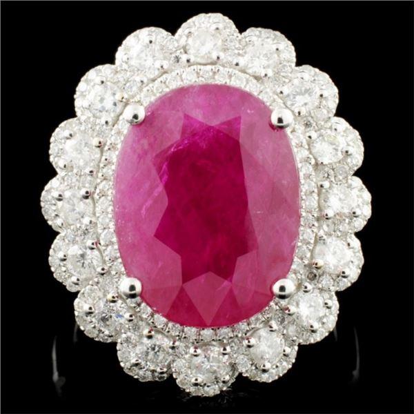 18K Gold 8.52ct Ruby & 1.13ctw Diamond Ring